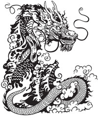 chinese dragon black white