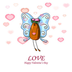 Valentine card with female fly