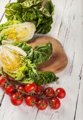 Fresh vegetables on the white table