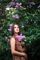 beautiful girl on a lilac background