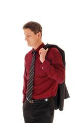 Man with jacket over shoulder.