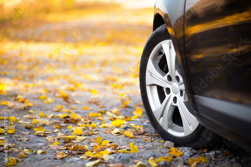 The car on the nature. Wheels and tyres closeup near autumn park - 76678958