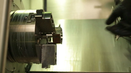 Lathe in operation