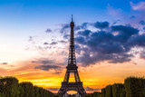 Eiffel Tower at sunset in Paris - 76679977