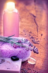 Spa concept -Spa treatment with lavender soap and lavender oil