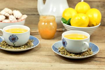 Chamomile tea, lemon and honey