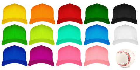 baseball cap front view set