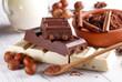 cioccolato alla nocciola con ingredienti intorno - 76680536