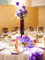 catering table set service with silverware, napkin and glassware