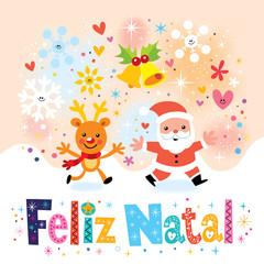 Merry Christmas Feliz Natal Portuguese greeting card