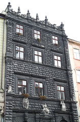 The old black european building with sculptures