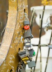 Love padlocks - just married tradition