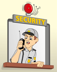 Job security in a guardhouse, talking on the radio about alarm