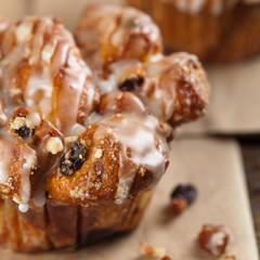 Cinnamon Raisin Muffins - Cobblestone. Selective focus.