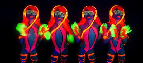 sexy neon uv glow dancer with hulahoop
