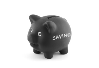 Black piggy bank with word savings. Clipping path included.