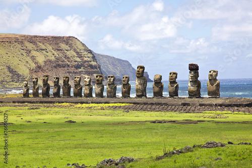 Aluminium Zuid-Amerika land Ahu Tongariki on Easter Island
