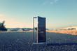 Leinwanddruck Bild - 路上に置かれたドア