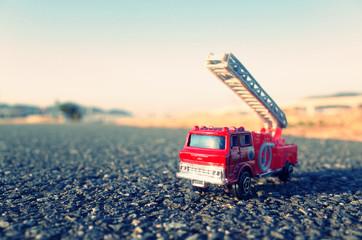 消防車と道路