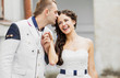 Groom and bride together having