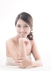 Asian woman model beauty shot in studio on white background