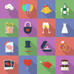 Set of wedding icons. Flat style
