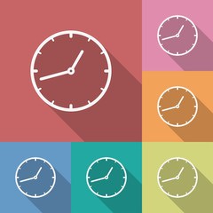 Icon of Clock. Flat style. Long shadow