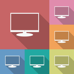 Icon of Monitor. Flat style. Long shadow