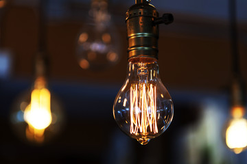 glowing vintage tungsten lamps