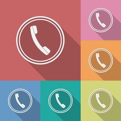 Icon of phone, telephone. Flat style
