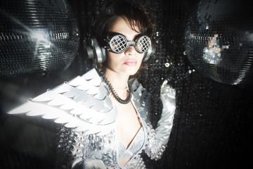 sexy disco dancer in solver costume