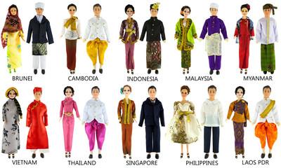 Asian dresses on dolls isolated on white background