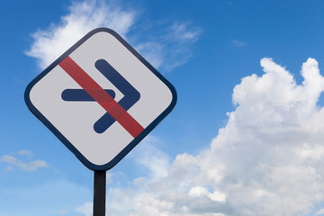 traffic sign of no turn right on blue sky background