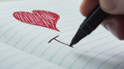 Writing the words I love you