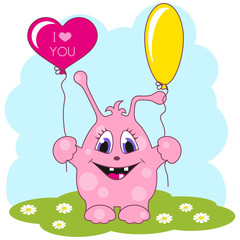 Cute pink monster loves you