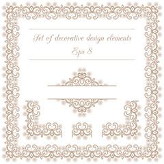 Set of decorative design elements