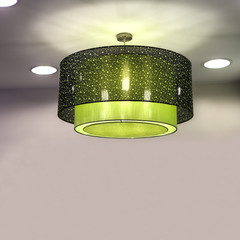 modern green chandelier, lighting lamp wraped with green cloth,