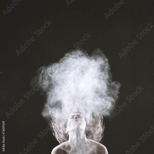 Bare Woman Throwing Head Back with Smoke Effect - 76695169