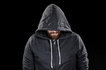 White Goatee Man Wearing Gray Hood