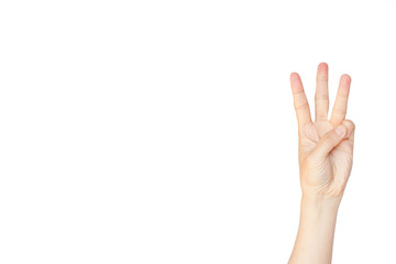 Japanese hand gesture: Number three on isolated white background