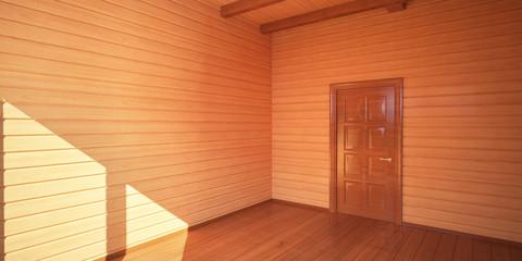 Дверь в доме из клееного бруса