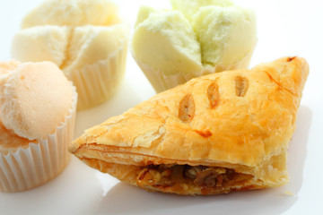 Mushroom puff pastry and Thai sponge cake.