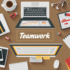 Trendy Flat Design Illustration: Teamwork office workplace