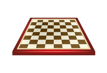 Empty chess board in red and brown design