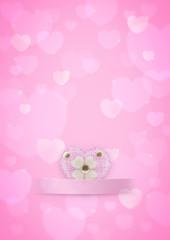 Pink Heart on sweet bokeh background