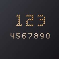 Vector Retro Geometric Triangle Font Numbers