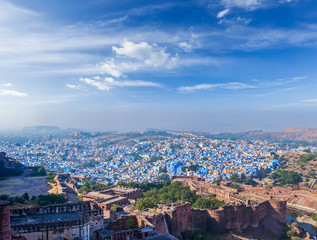 Aerial panorama of Jodhpur - the blue city, India