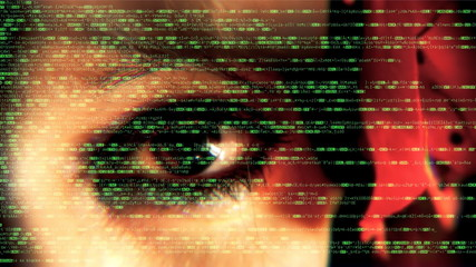 Source code eye macro woman glitch