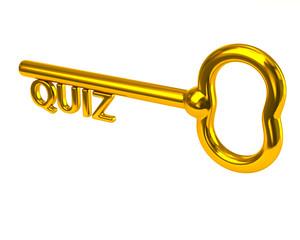 Golden key with word quiz