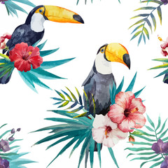 pattern toucan parrot tropical jungle nature background